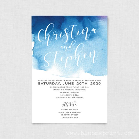 Watercolor wedding invitation template, Simple wedding invitation set, Calligraphy wedding invitation, Engagement invites, Navy Blue Pink A5