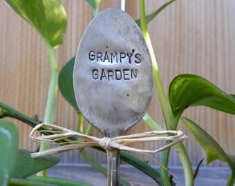 GRAMPY'S GARDEN garden pick - hand stamped spoon - plant marker - garden marker for your planter bed - re-purposed spoon art - rustic look