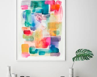 Abstract watercolor print, colorful art, abstract giclee print, watercolor painting, abstract art print, VictoriAtelier