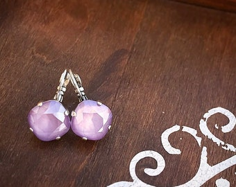 Swarovski Crystal Drop Earrings in Lilac