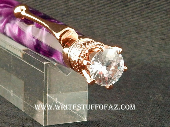 Mother's Day Amethyst PurpleTwist Pen, Adorned with Swarovski Crystal