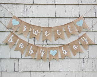 Sweet Baby Boy Banner, Rustic Baby Shower ...