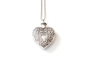 Vintage Silver Heart Vial Necklace . vial necklace . perfume vial necklace . sterling silver heart necklace . empty vial necklace