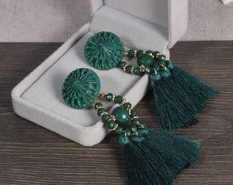 Tassel Earrings, Drop Earrings, Green Tassel Earrings, Boho Tassel Earrings,Tassel Dangle Earrings, For Women, Tassel Jewelry