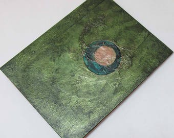 Handmade Journal Refillable Eclipse green olive 9x7 Original traveller notebook fauxdori