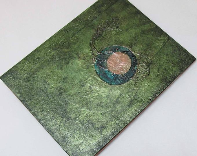 Handmade Journal Refillable Eclipse green olive 9x7 Original traveller notebook fauxdori