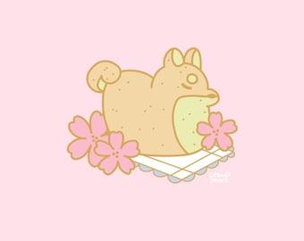 Hanami Shiba Loaf Enamel Pin PREORDER, 30mm, Hard Enamel, Gold, Pink, Green, Pastel, Cute, Kawaii, Japan, Sakura, Flowers, dog