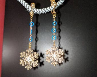 Clip-on Christmas and Winter Gold Swarovski crystal snowflake earrings