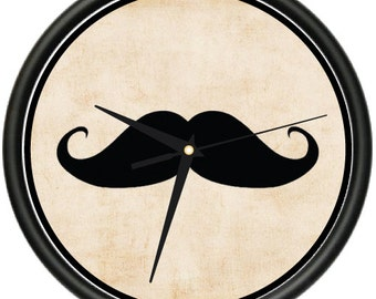 Mustache Wall Clock Hipster Cool Stache No Shave Movember Gift
