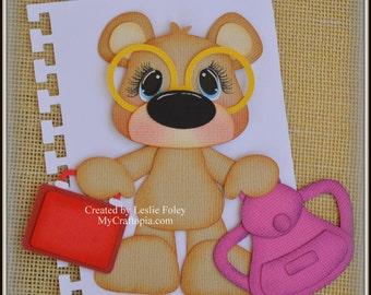 Bear School Premade Scrapbooking Embellishment Paper Piecing