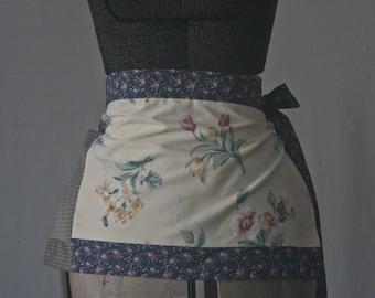 Apron - One Pocket Apron, Green Plaid, Blue Calico, Floral Apron, Side Tie Waist Apron, Patchwork Apron, Reclaimed Fabric, Zero Waste
