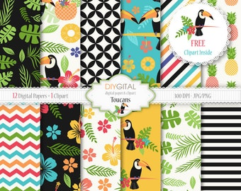 "Tropical digital paper ""TOUCANS""- 12 tropical backgrounds with toucans, leaves, hibiscus, pineaple-tropical patterns-Toucan clipart included"