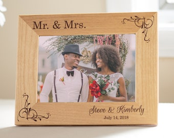 Personalized Mr. & Mrs. Wedding Picture Frame: Engraved Mr Mrs Picture Frame, Personalized Wedding Frame, Custom Wedding Gift, SHIPS FAST