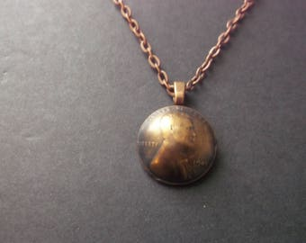 US Penny Domed  Coin Necklace - 1941 US Penny Domed Coin Pendant