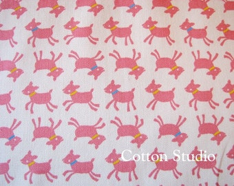 Kawaii Goat Japanese Fabric White and Pink 1 Yard