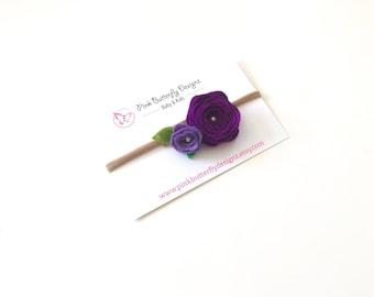 Paris Felt Headband - Felt Rose headband - Purple Headband - Purple Rose - Nylon Headband - Baby headband - Toddler - Girls Headband