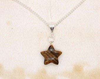 Tiger's Eye Gemstone Star Shaped Pendant On Silver Plated Chain Necklace