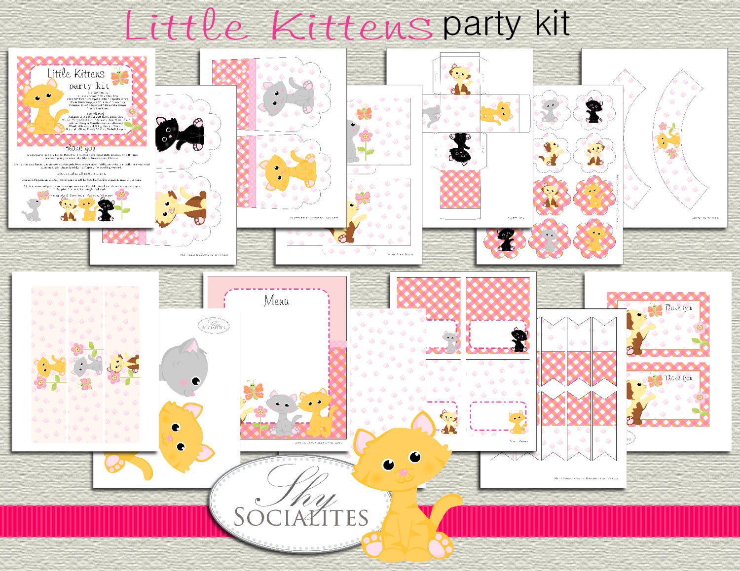 Kitty PDF party Kit Kitten Birthday Party Kitty Birthday