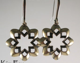 Desert Flower Scalloped Origami Style Earrings in bronze with silver wires by Kim Fox