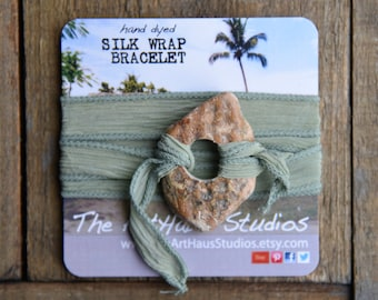 Green silk wrap bracelet, green bracelet, boho wrap, eco friendly jewelry, sage bracelet, beach jewelry, boho chic jewelry, yoga jewelry