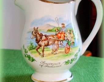Irish Pitcher Arklow Pottery Made in Republic of Ireland Vintage Souvenier Irish Countryside Carriage Ride Scene Small Size