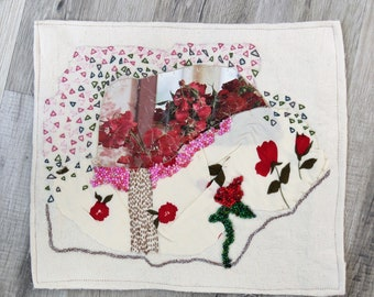 Red Rose, red Flowers Mini Quilt, hand embroidery,  Abstract wall hanging, home decor, Unique embroidery art