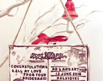 Hand made personalised clay hanging postcard - destination wedding, travel, postcard, hanging decor, vintage decor, Stocking filler