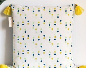 Pillow cover handprinted blockprint dots pattern