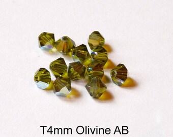 4xT4mm Austrian Crystal, various green colors