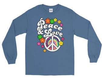 Peace and Love Long Sleeve T-Shirt with Tie Dye Peace Sign