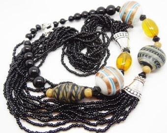 Long Black Necklace, Black Vintage Necklace, Black Beaded Necklace, Black Statement Necklace, Seed Bead Necklace, Multi Strand Boho Necklace