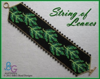 STRING OF LEAVES Peyote Cuff Bracelet Pattern