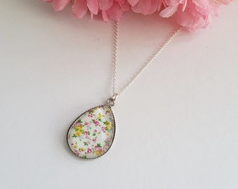 Spring Blooms Teardrop Resin Pendant Necklace