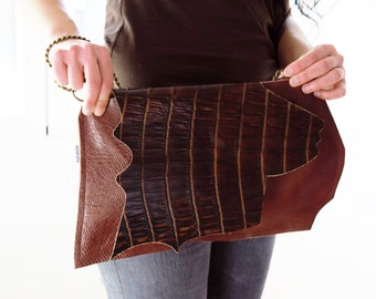 LEATHER bag, Leather clutch, Brown bag, Alligator bag, brown alligator, genuine leather, lined leather bag, alligator leather, chain bag