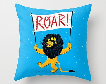 """ROAR! - Childrens Decor - Nursery room -  lion - illustrated Cushion Cover / Throw Pillow (16"""" x 16"""") by Oliver Lake"""