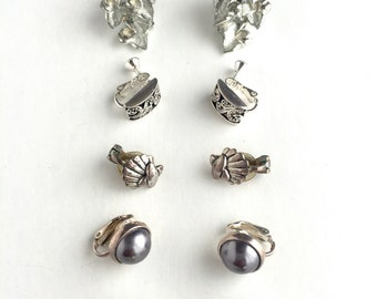 Vintage Clip On and Screw Back Earrings-Group of 6