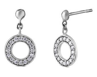 CZ Diamond Eternity Circle Halo Earrings in 925 Silver