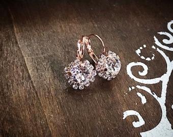 Swarovski Crystal Rose Gold Cluster Drops