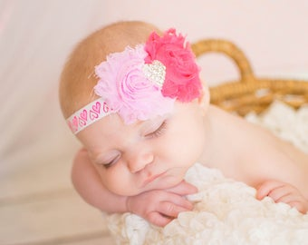 Pink Baby Headband, Pink Headband, Baby Headbands, Heart Headband, Pink Baby Bow, Baby Hairbow, Shabby Baby Headband