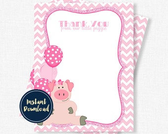 Pig Thank You, Birthday Thank You Cards, Pink Pig Thank You Cards, Pig Notecards, Girl Thank You Cards Printable INSTANT DOWNLOAD