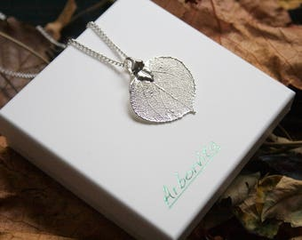 Real Aspen Leaf silver pendant necklace with silver chain