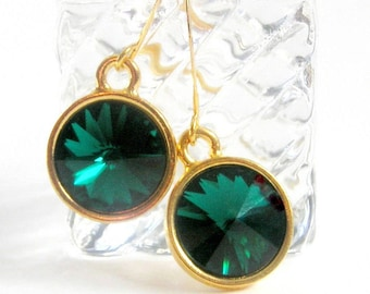 Emerald Green Rivoli Earrings, Green Vintage Rhinestones Earrings, St Patricks Day Earrings