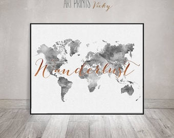 Grey world map etsy wanderlust world map watercolour print travel map large world map grey color gumiabroncs Gallery