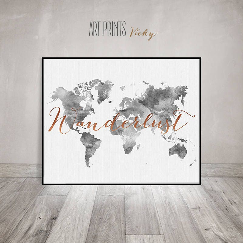 Wanderlust world map poster grey colours artprintsvicky gumiabroncs Gallery