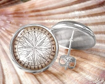 Compass Earrings - Nautical Compass Rose Stud Earrings in Silver