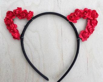 Red Cat Ears Flower Headband, Rose Cat Ears, Floral Cat Ears, Valentines Day, Bachelorette
