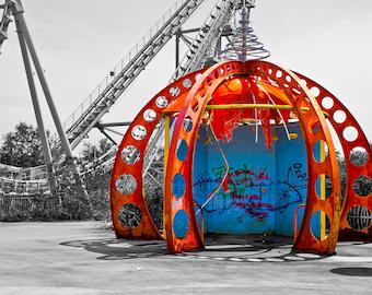 "Abandoned Six Flags - Photo Art Print - ""RAVAGED RED"" - 16x24"