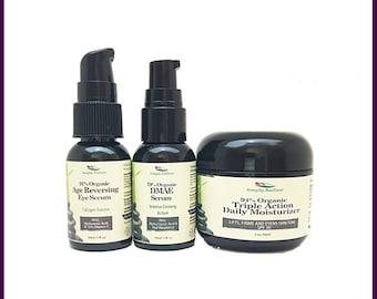 Organic Anti-Wrinkle Rejuvenation Kit (Age Reversing Eye Serum, DMAE Skin Tightening Serum, Triple Action Daily Moisturizer)