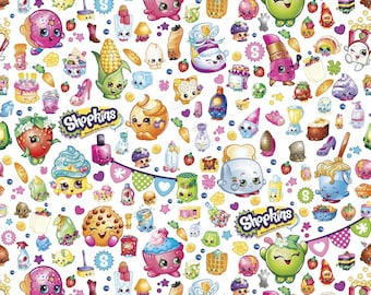 "Cartoon Fabric - Shopkins Fabric - Moose Shopkins Party 100% cotton fabric 44"" wide, SC594"