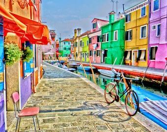 Venice, Italy photo, Burano, Italy photo, water photography, fine art photo, wall art,  Travel photography, colorful Burano,